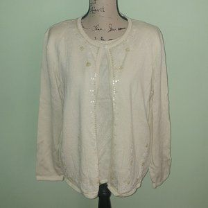 ALFRED DUNNER WINTER WHITE 2 PC SWEATER SIZE XL